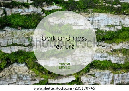 Bark and moss vector texture - stock vector