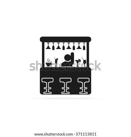 Barman illustration. Bar icon.  - stock vector