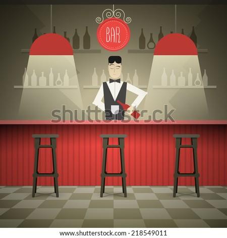 Barman in the bar vector illustration. - stock vector