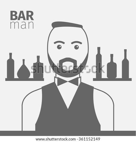 Barman in the bar. Vector illustration - stock vector