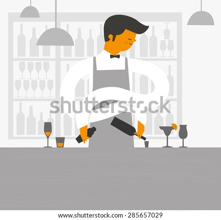 Barman in the bar with alcoholic beverages. Profession - Bartender at the cafe makes cocktails. vector illustration. - stock vector