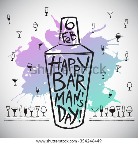 Barman's day vector illustration. Big brush drawn shaker with colorful blot, greetings and date. Barman day card - shaker, splash shape and pattern background with tiny doodle style cocktail glasses. - stock vector