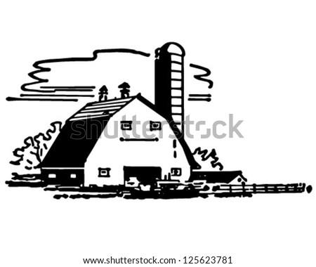 Barn And Silo - Retro Clipart Illustration - stock vector