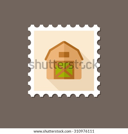 Barn house flat stamp with long shadow - stock vector