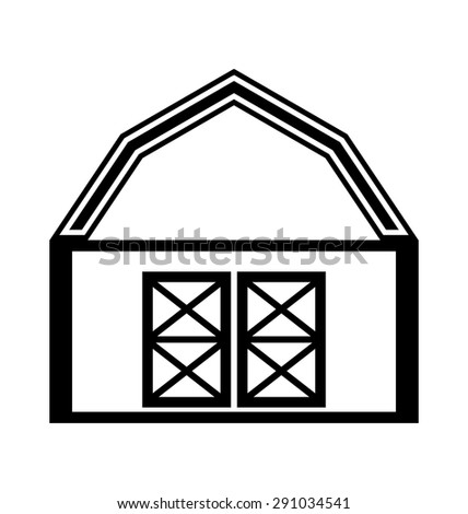 Barn house icon or sign isolated on white background. - stock vector