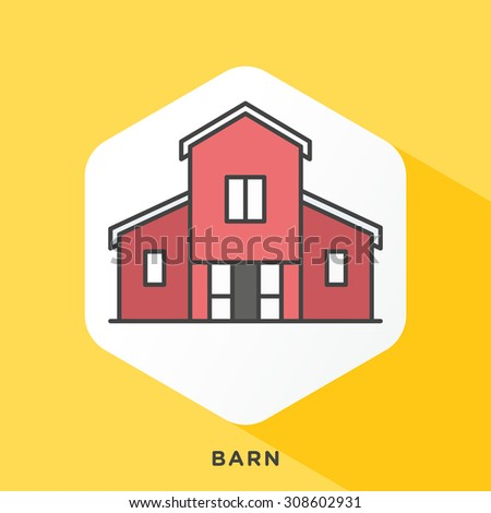 Barn icon with dark grey outline and offset flat colors. Modern style minimalistic vector illustration for agricultural buildings, housing of livestock and storage of crops. - stock vector