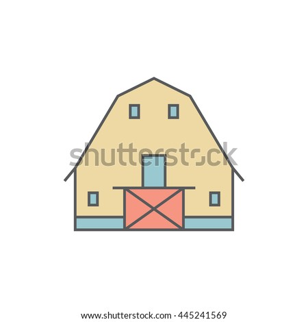 Barn. Shack. Shed, gambrel roof. Colored icon. Vector illustration. - stock vector