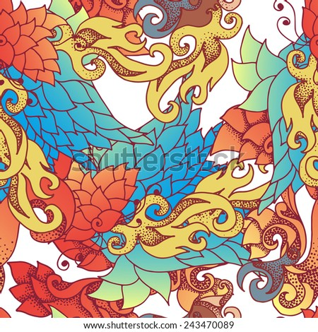 Barocco color ornament - vector seamless pattern