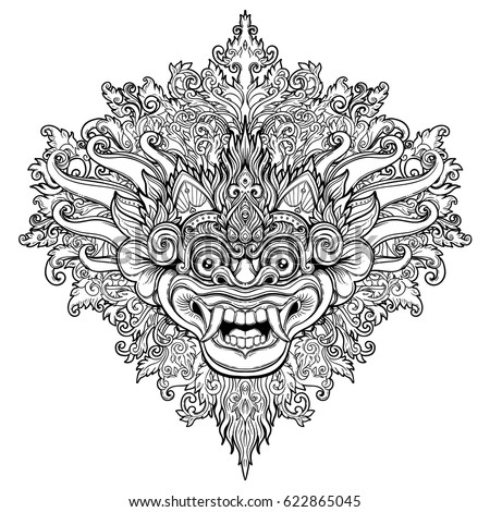 barong traditional ritual balinese mask vector decorative ornate outline illustration isolated hindu ethnic