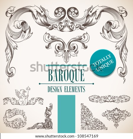 Baroque design elements and page decoration. - stock vector