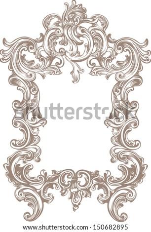 baroque frame on white background - stock vector