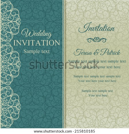 Baroque invitation card in old-fashioned style, blue and beige - stock vector