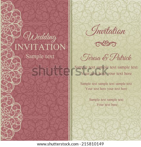 Baroque invitation card in old-fashioned style, pink and beige - stock vector