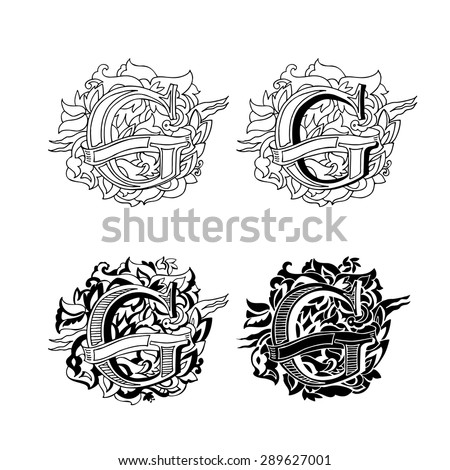 Baroque letters of the alphabet in upper case letters on a white background. Letter G. Vector illustration