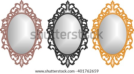 Baroque mirror in rose gold, gold, and black gold frame vector - stock vector