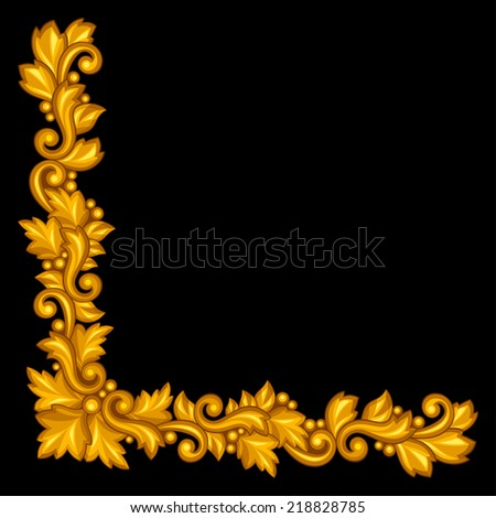 Baroque ornamental antique gold element on black background. - stock vector