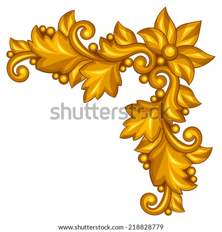 Baroque ornamental antique gold element on white background. - stock vector