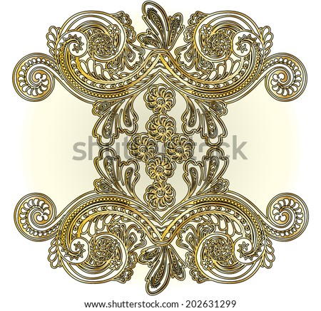 Baroque ornamental vector drawing in gold color. Use for fashion and other uses. - stock vector