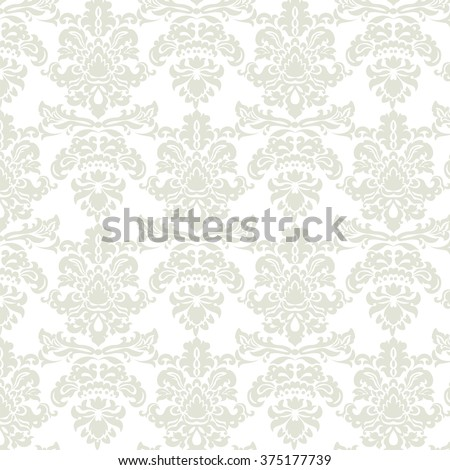 Baroque Pattern ornament. Vintage floral style damask element for texture, fabric, wallpaper, or invitation cards.  Beige olive color. Vector - stock vector