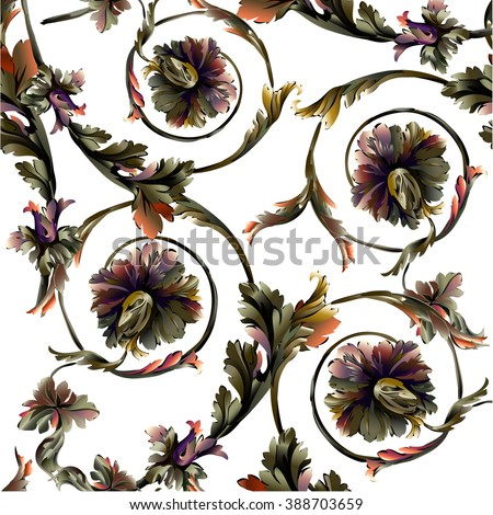 Baroque pattern with colorful branch and scrolls on white background
