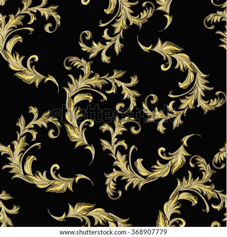 Baroque pattern with gold scrolls on black - stock vector