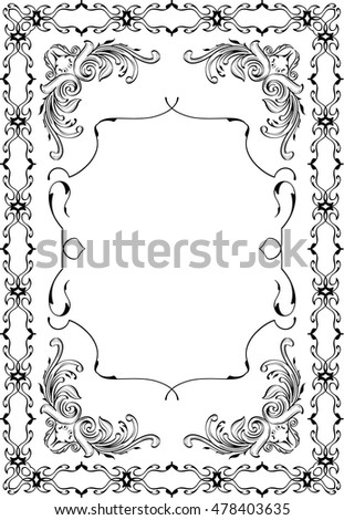 Baroque perfect art frame is on white