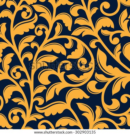 Baroque stylized floral seamless pattern of yellow twisted branches with shaped leaves on dark blue background, for luxury or textile design - stock vector