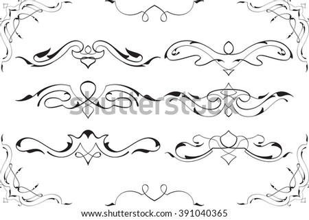 Baroque swirl elements art set is on white - stock vector