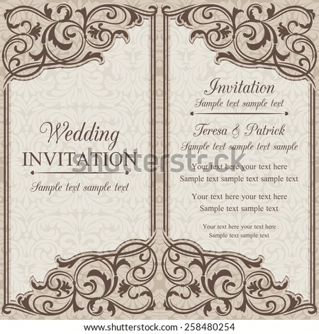 Baroque wedding invitation card oldfashioned style stock vector hd baroque wedding invitation card in old fashioned style brown and beige stopboris Choice Image