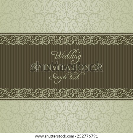Baroque wedding invitation card in old-fashioned style, dull gold on beige background - stock vector