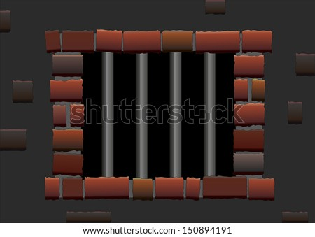 Barred window of a jail. Isolated vector. - stock vector
