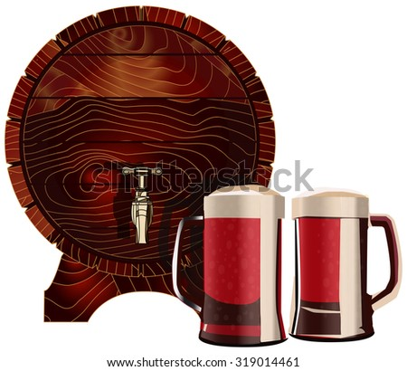 Barrel and mugs, vector illustration, isolated on white - stock vector