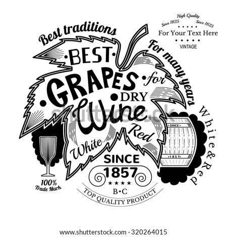 barrel and wineglass near grapes leaf with lettering best grapes wine. Wine label on white - stock vector