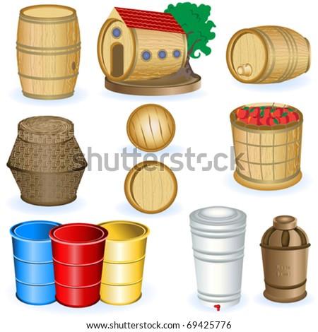 Barrel icons - stock vector