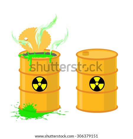 Barrel of acid. Vector illustration open drums with dangerous green liquid. - stock vector