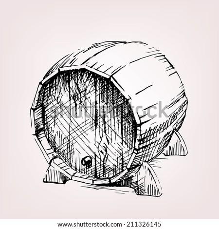 barrel of wine, old wooden barrel with cork.  - stock vector