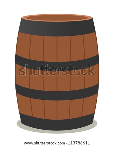 barrel of wood and steel for wine - stock vector