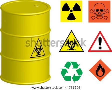 Barrel with a few symbols - stock vector