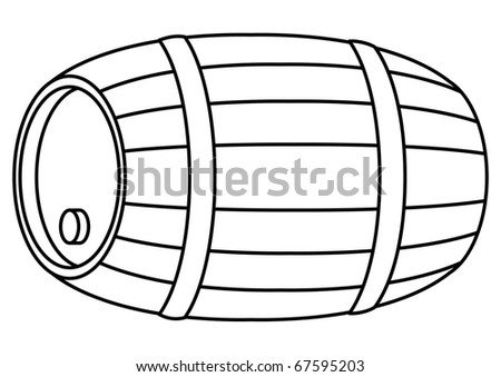 Barrel wood, container with hoop and stopper, contour, isolated - stock vector