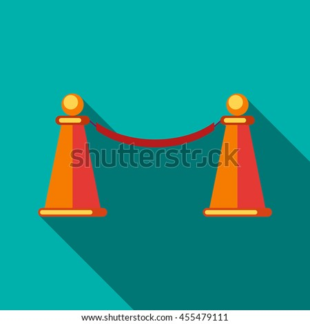 Barrier rope icon in flat style on a turquoise background - stock vector