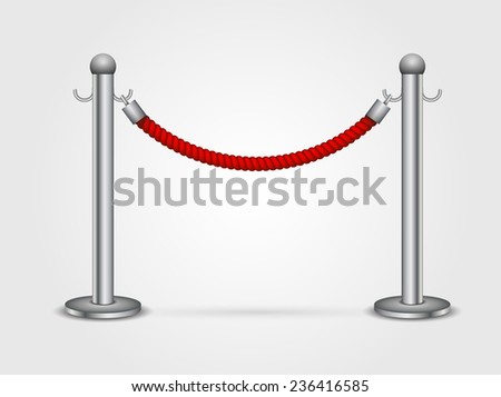 Barrier rope isolated on a white background - stock vector