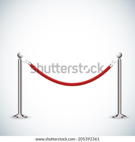 Barrier rope isolated on white. - stock vector