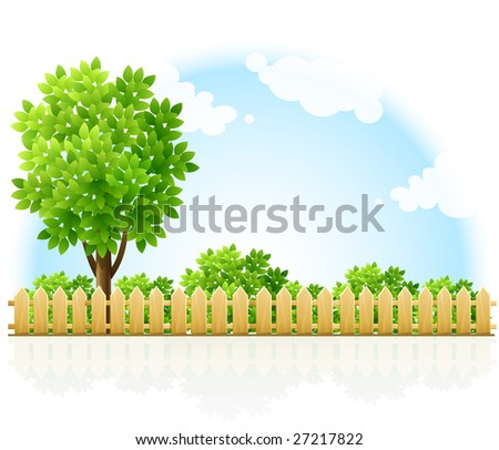 barriered garden territory with tree and green bushes - vector illustration