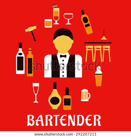 Bartender profession flat concept with bar counter, alcohol bottles, shaker, corkscrew, cocktails, beer tankard, wine glass and male in uniform with bow tie - stock vector