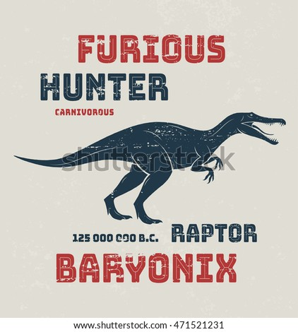 Baryonyx t-shirt design, print, typography, label. Vector illustration.