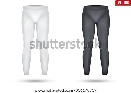 Base layer compression pants of thermal fabric. Sample typical technical illustration.  Vector Illustration isolated on white background - stock vector