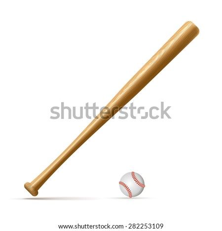 Baseball and baseball bat isolated on white background with clipping path. - stock vector