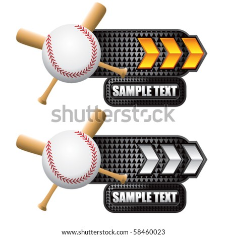 baseball and crossed bats on gold and white arrow nameplates - stock vector