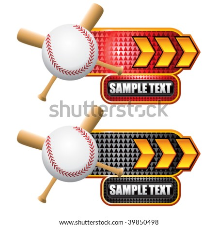 baseball and crossed bats on gold arrow banners - stock vector