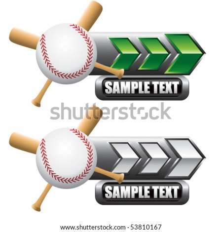 baseball and crossed bats on green and white arrow nameplates - stock vector